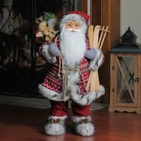 "24"" Nordic Skiing Standing Santa Claus Christmas Figure with Burlap Gift Bag - RED"