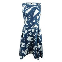 DKNY Women's Stamped Line-Print Fit & Flare Dress - Navy/Cloud