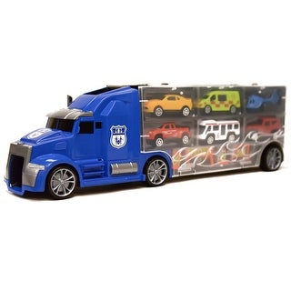 11 in 1 Carrier Truck with Mini Cars and Accessories Big Hauler, Blue