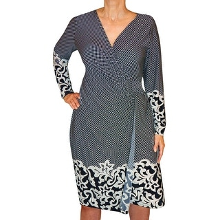 Funfash Plus Size Clothing Midnight Blue White Slimming Wrap Dress