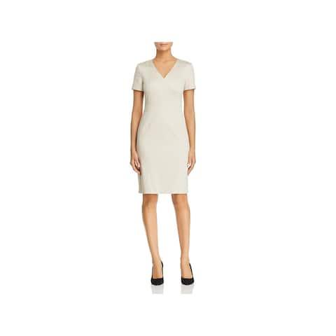 0d89788a BOSS Hugo Boss Womens Dasali Wear to Work Dress Short Sleeves Knee-Length
