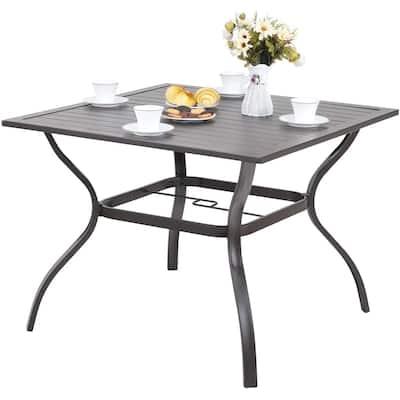 MF STUDIO Metal Steel Slat Patio Metal 37 inch Dining Table