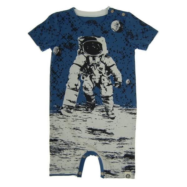 Mini Shatsu Baby Boys Navy Skater Astronaut Print Short Sleeve Romper