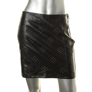 Lucy Paris Womens Faux Leather Studded Mini Skirt - XS