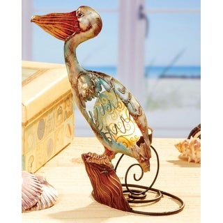 Pack of 3 Seascapes Hand Painted Capiz Shell Pelican Tea Light Candle Holders 9""