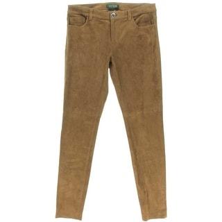 Lauren Ralph Lauren Womens Suede Flat Front Skinny Pants