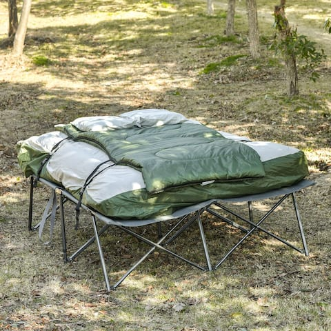 Outsunny 2-Person Collapsible Portable Camping Cot Bed Set with Sleeping Bag, Inflatable Air Mattress, & Comfort Pillows