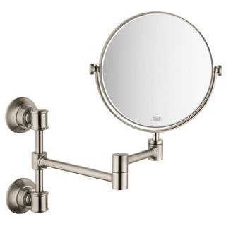 "Axor 42090 Montreux 7 3/4"" Double Sided Round Mirror with 2.5 x Magnification and Double Jointed Swing Arm"