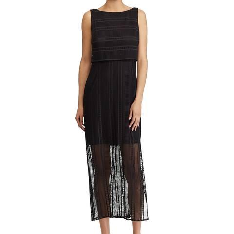 American Living Women's Black Size 14 Mesh Knit Popover Maxi Dress