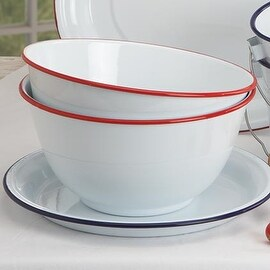 "Crow Canyon V23RED Vintage Large Salad Bowl, 10"" D, Red Rim"