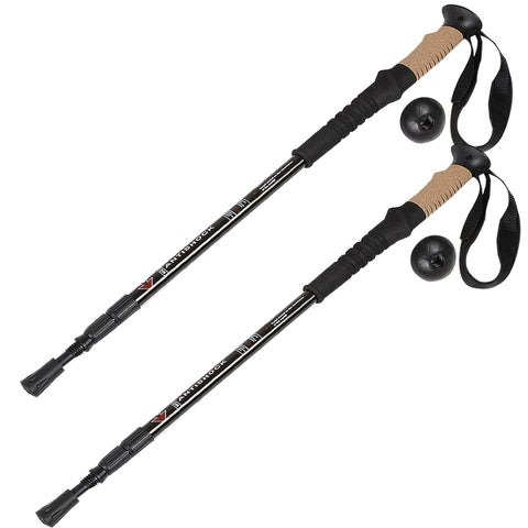 Costway Generic Pair 2 Trekking Walking Hiking Sticks Poles Alpenstock Adjustable Anti-Shock
