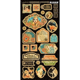 "Vintage Hollywood Chipboard Die-Cuts 6""X12"" Sheet-Decorative"
