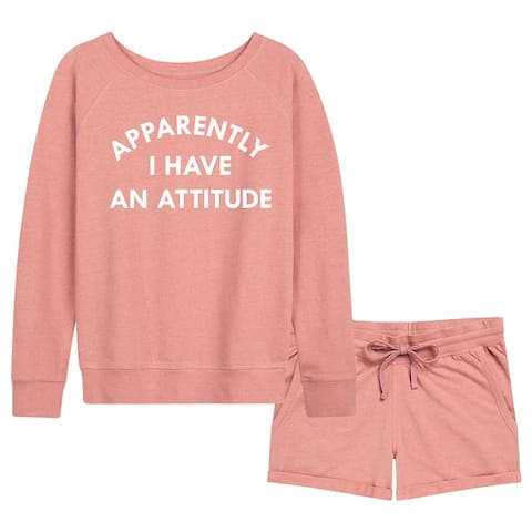 Apparently I Have An Attitude - Women's French Terry Shorts Set - Desert Pink