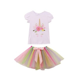 Unicorn Print Tee T-Shirt Top for Little Girl White 710059