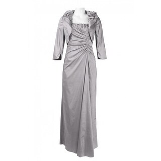 Adrianna Papell Spaghetti Strap Ruched Side Iridescent Satin Dress, Silver Grey, 8