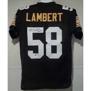 Jack Lambert Autographed Pittsburgh Steelers Black Size XL Jersey wHOF 90 JSA