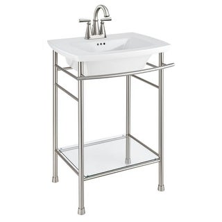 "American Standard 445.004 Edgemere 25"" Fireclay Pedestal Bathroom Sink with 3 Faucet Holes at 4"" Centers and Overflow - Less"