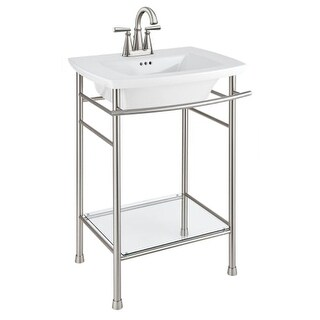 """American Standard 445.004 Edgemere 25"""" Fireclay Pedestal Bathroom Sink with 3 Faucet Holes at 4"""" Centers and Overflow - Less"""