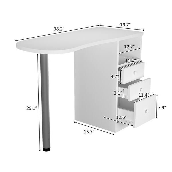 Beauty Salon Wooden Technician Table Nail Station Desk White Overstock 31135645