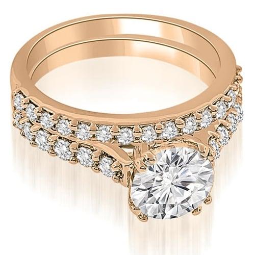 1.05 cttw. 14K Rose Gold Cathedral Round Cut Diamond Bridal Set