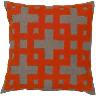 """22"""" Ionic Flow Blood Orange and Olive Green Decorative Throw Pillow - Down Filler"""