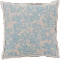 Alice Blue and Cloud Gray Elegant Blossom Dreams Linen Decorative Euro Sham