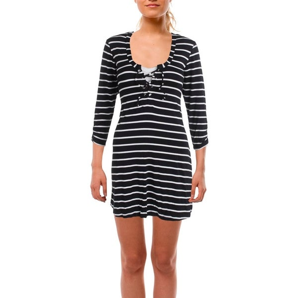 0c587fc9c3ea5 Kenneth Cole Reaction Womens Skyline Striped Long Sleeves Dress Swim Cover- Up