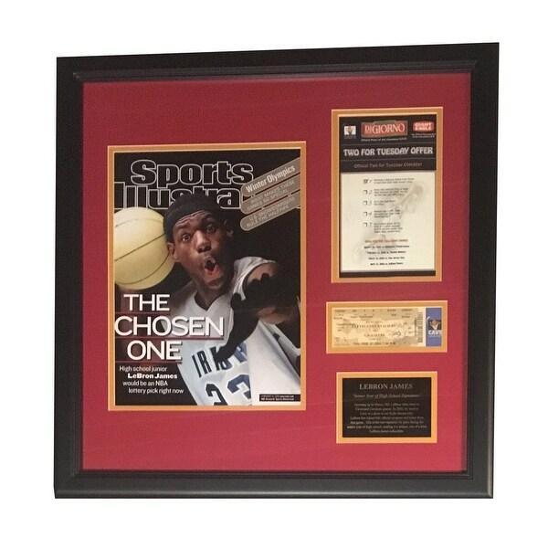 66210dcb045 LeBron James Autographed Cleveland Cavaliers Signed High School Framed  Program Ticket JSA COA