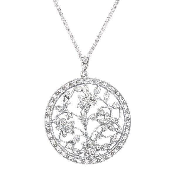 Van Kempen Art Nouveau Medallion Pendant with Swarovski elements Crystals in Sterling Silver