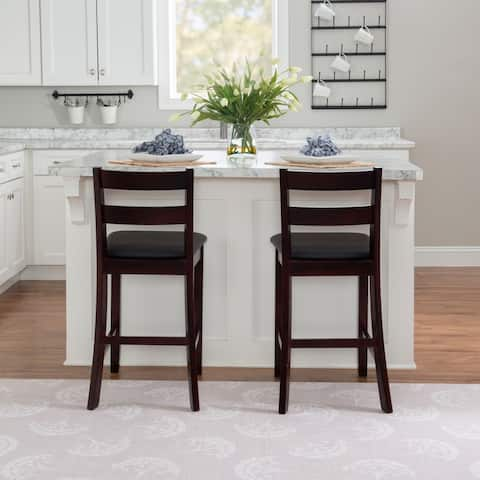 Porch & Den McGrath Espresso Wood Counter Stool