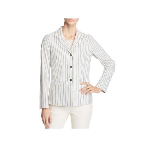 Lafayette 148 New York Womens Jasmine Three-Button Blazer Striped Office
