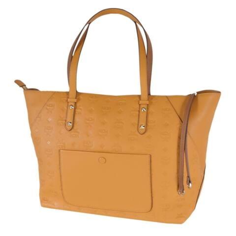 MCM Women's Mango Gold Visetos Logo KLARA Zip Top Tote Purse Handbag