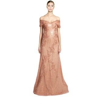 Rene Ruiz Lace Sequins Applique Off Shoulder Evening Gown Dress