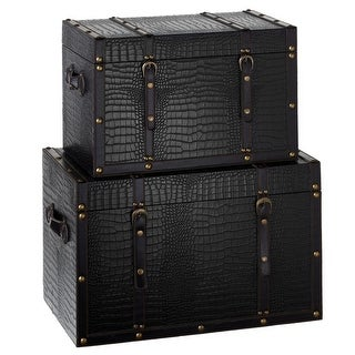 Set of 2 Jet Black Faux Crocodile Wooden Storage Trunks 25.25 - bronze