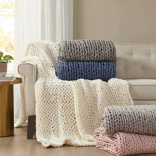 Link to Madison Park Chunky Double Knit Handmade Throw Similar Items in Blankets & Throws