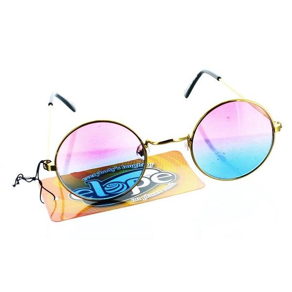 John Hippie Retro Gold Pink Adult Costume Glasses