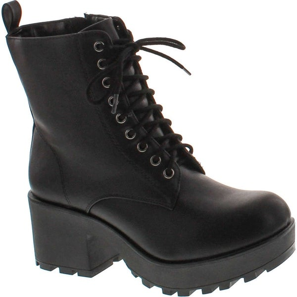 590b327822c Soda Women  x27 s Magpie Faux Leather Lace-Up Combat Mid Heel Military