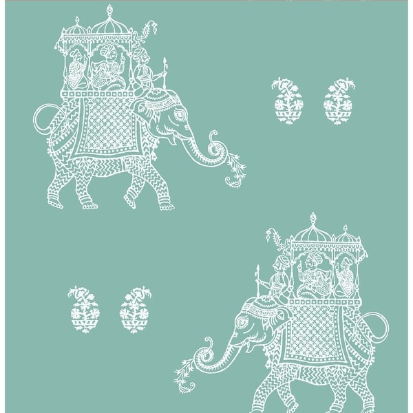 Brewster 1014-001839 Ophelia Turquoise Elephant Wallpaper - ophelia turquoise elephant - N/A
