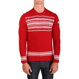 Moncler Men's Virgin Wool Holiday Crewneck Sweater Red