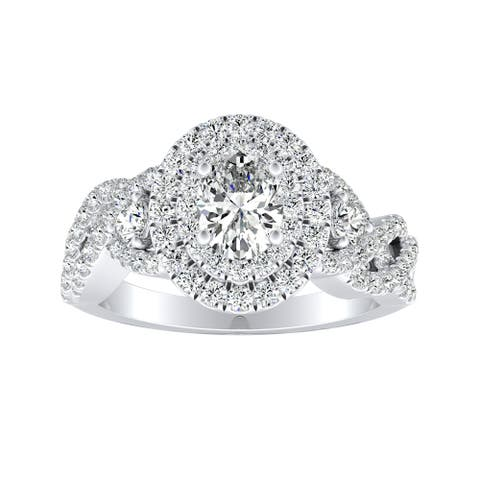Auriya Platinum 1 3/8ctw Braided Oval-cut Halo Diamond Engagement Ring