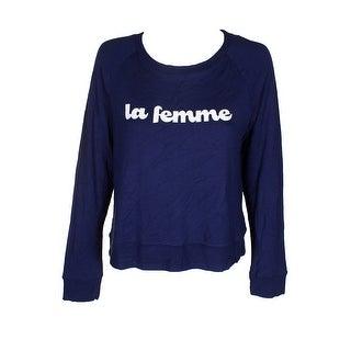 Maison Jules Navy La Femme Graphic-Print Raglan-Sleeve Sweatshirt XS