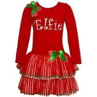 "Bonnie Jean Little Girls Red Green Bow ""Elfie"" Tiered Christmas Dress"