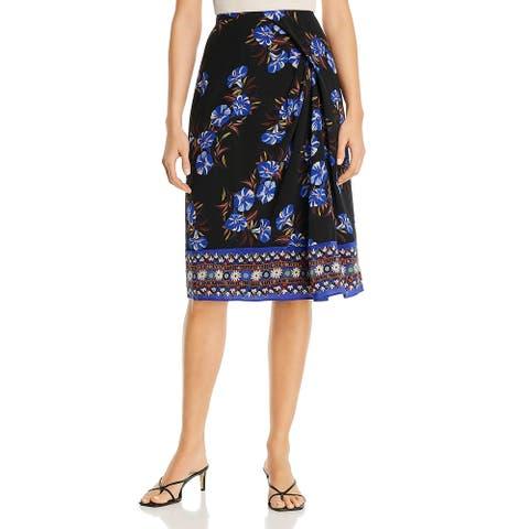 Kobi Halperin Womens Lyle Wrap Skirt Silk Mixed Media - Black Multi