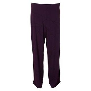 Alfani Purple Plum Printed Pull-On Pants L