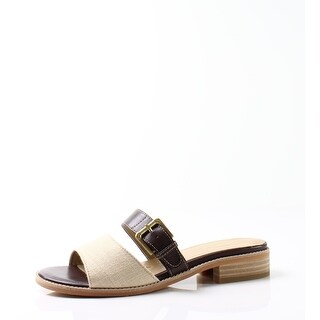 Trotters NEW Beige Women's Shoes Size 7N Billie Buckle Slides