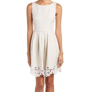 Tahari By ASL NEW Beige Women's Size 12 Pleated Linen Lace Trim Dress