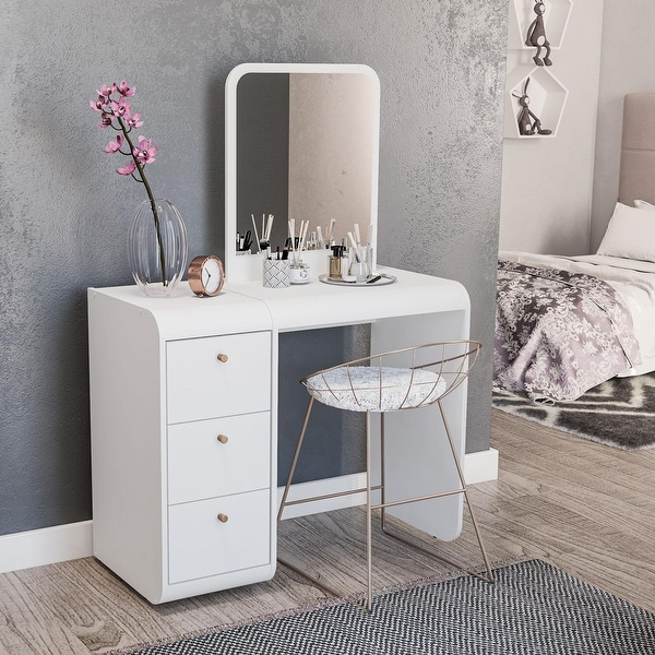 Boahaus Aphrodite Dressing Table, White, Standing Mirror, 03 Drawers. Opens flyout.