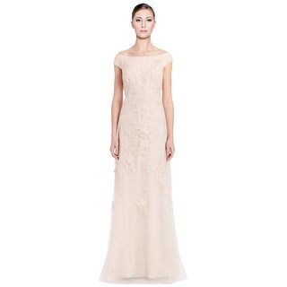 Teri Jon Off Shoulder Embroidered Lace Evening Gown Dress
