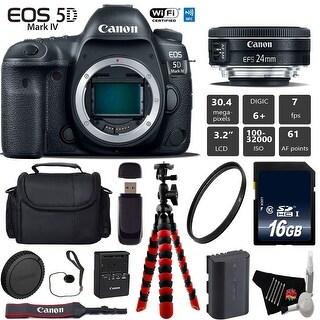 Canon EOS 5D Mark IV DSLR Camera with 24mm f/2.8 STM Lens + Tripod + Wrist Strap + Card Reader - Intl Model