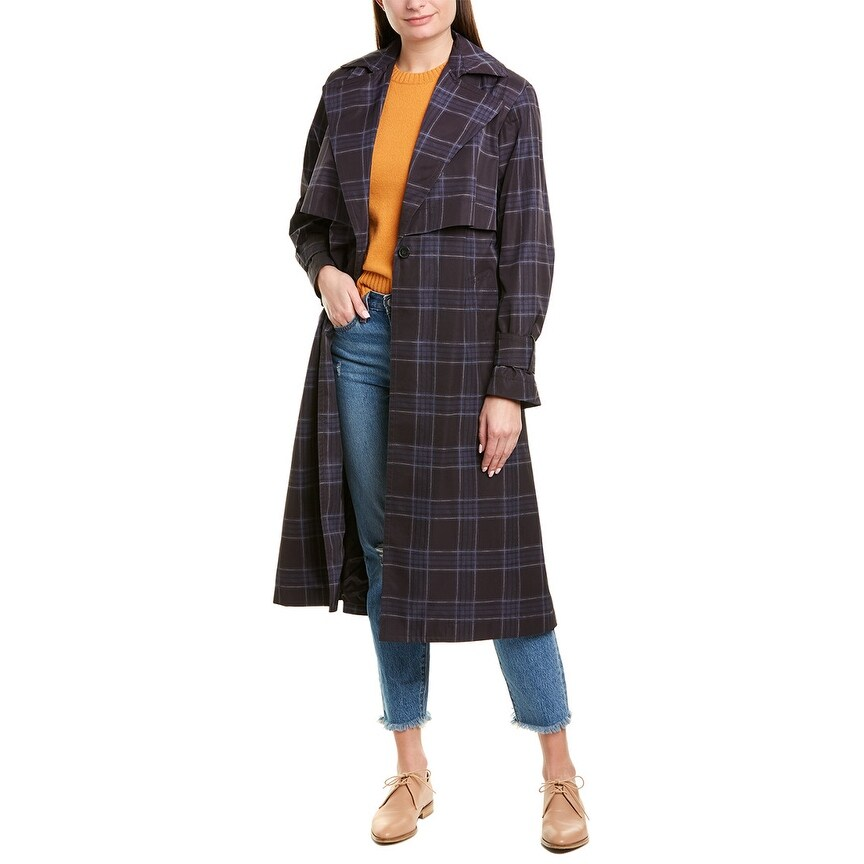 Vince Womens Plaid Trench